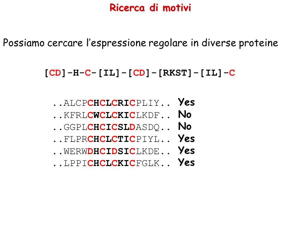 Ricerca di motivi Possiamo cercare l'espressione regolare in diverse proteine. [CD]-H-C-[IL]-[CD]-[RKST]-[IL]-C.